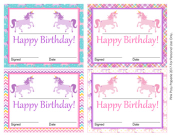 Unicorn Theme Birthday Certificates