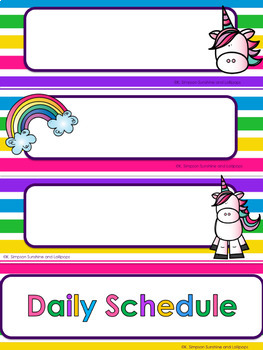 Unicorn Theme Classroom Decor with Editable Pages