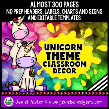 Unicorn Theme Classroom Decor EDITABLE (Unicorn Classroom Theme Decor)