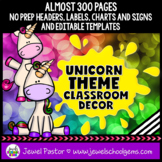 Unicorn Theme Classroom Decor EDITABLE (Unicorn Classroom Theme Bundle)