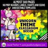 Unicorn Theme Classroom Decor EDITABLE (Unicorn Classroom