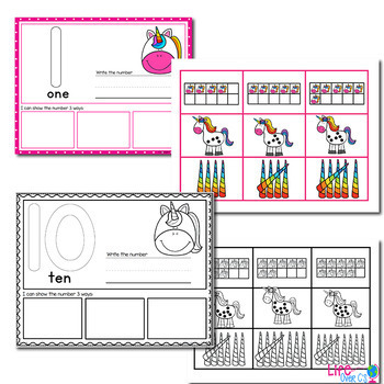 Unicorn Number Recognition Mats   Ten-frames, Array, Tally Marks