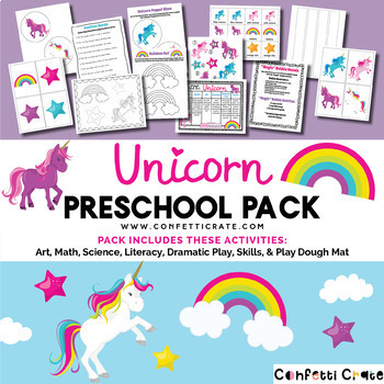 Unicorn Activities Preschool (color and black & white version)
