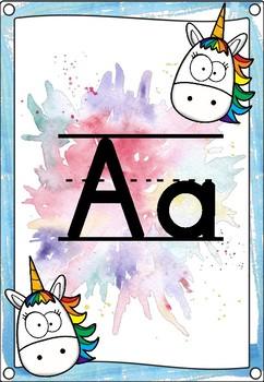 Unicorn Themed Alphabet Posters