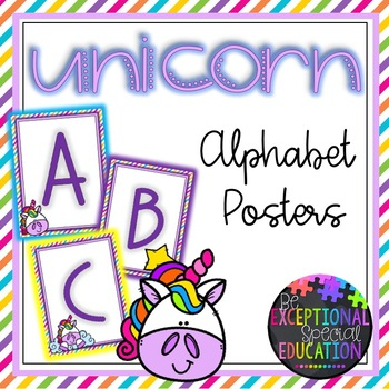 Unicorn and Rainbows Themed Classroom Decor Alphabet Posters