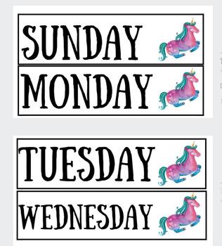Unicorn Themed Calendar for Bulletin Board