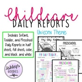 Unicorn Themed Childcare Daily Reports  (Daycare)