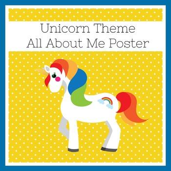 Unicorn Themed Classroom   Unicorn Classroom Decor   All About Me Poster