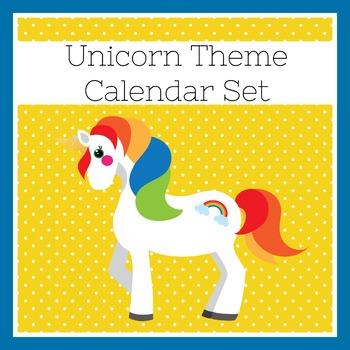 Unicorn Themed Classroom | Unicorn Classroom Decor | Calendar Set