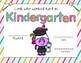 Unicorn Themed Kindergarten Graduation Certificates
