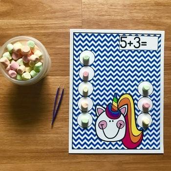 "Unicorn Themed Math Activities:  ""Counting Unicorn Fluff"""