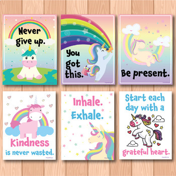 Unicorn Themed Motivational Posters for Back to School Bulletin Boards
