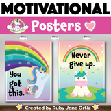 Unicorn Themed Motivational Posters for Back to School Bul