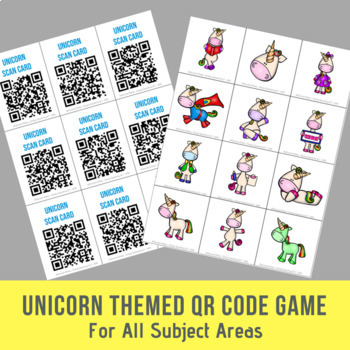 Unicorn Themed Open Ended QR Code Game - For All Subject Areas
