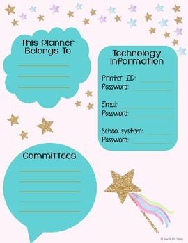Unicorn Themed Teacher Planner 2018-2019