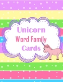 Unicorn Themed Word Family Cards - Short A