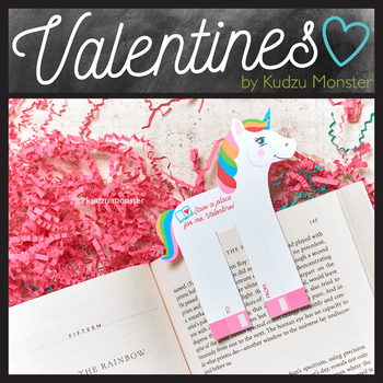 Unicorn Valentine Bookmark
