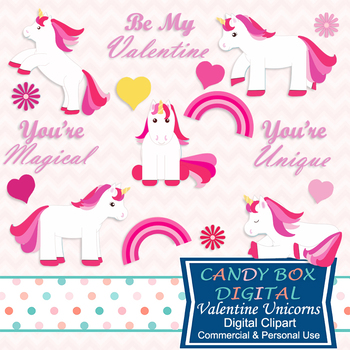 Unicorn Valentine Clip Art - Commercial or Personal Use