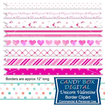 Unicorn Valentine Ribbon Border Clip Art