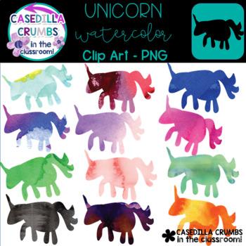 Unicorn Watercolor Clip Art - 12 Images