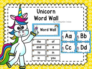 Unicorn Word Wall & 200 Fry Words With Editable Word Page
