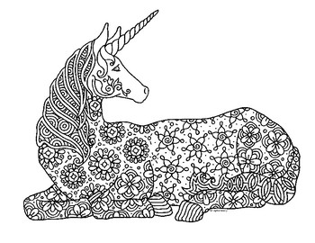 Unicorn Zentangle Coloring Page by Pamela Kennedy TpT