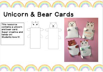 Unicorn and Bear Cards
