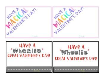 Unicorn and Car Themed Valentine's Day Cards (Editable)