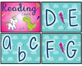 Unicorn and Dinosaur Reading Level Chart (editable)