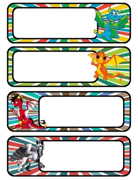 Unicorn and Dragon Nametags and Labels- 2 sizes