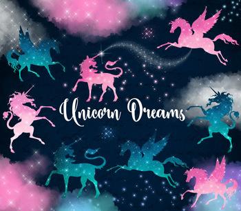 Unicorn and Pegasus Dream Clip Art