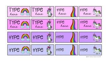 Unicorn and Rainbow Teacher Toolbox Labels {Editable}