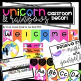 Unicorn and Rainbow Themed Classroom Decor! EDITABLE [600+ Pages]