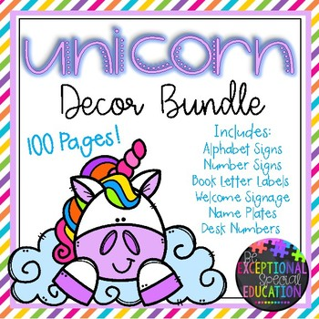 Unicorn and Rainbows Classroom Decor Bundle