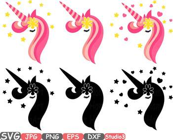 Unicorn birthday Silhouette clipart svg floral head face eyelashes Flower -707s