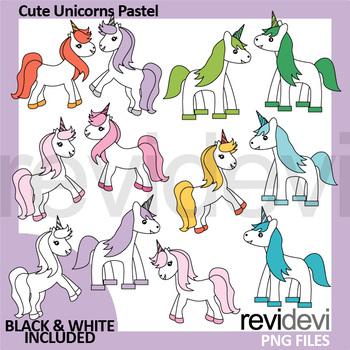 Unicorn clipart - Cute unicorns pastel colors clip art