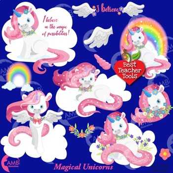 Unicorn clipart, White and Pink Unicorns Clipart {Best Teacher Tools} AMB-1381