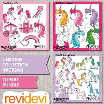 Unicorn collection clip art bundle