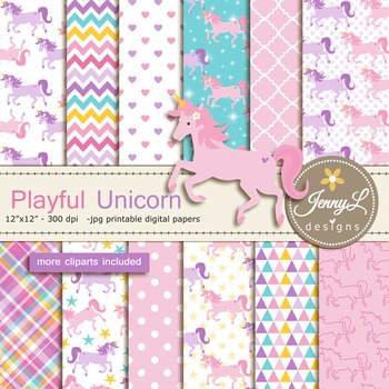 Unicorn digital paper and clipart