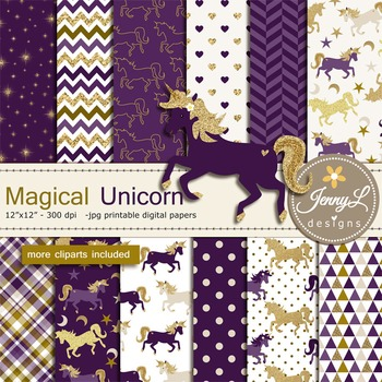 Unicorn digital paper and clipart