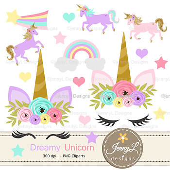 Unicorn faces Digital Papers and Clipart