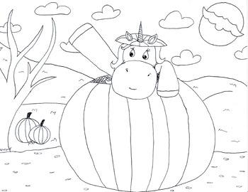 Unicorn in pumpkin coloring sheet