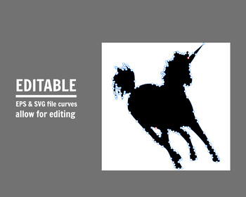 Unicorn shapes, printable unicorn clipart, unicorn vectors, unicorn eps
