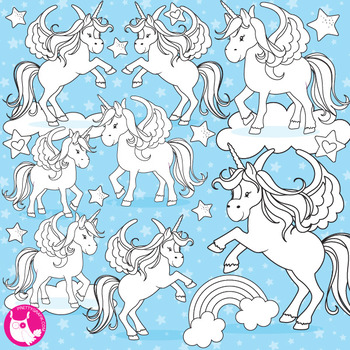 Unicorn stamps commercial use, vector graphics, images  - DS775