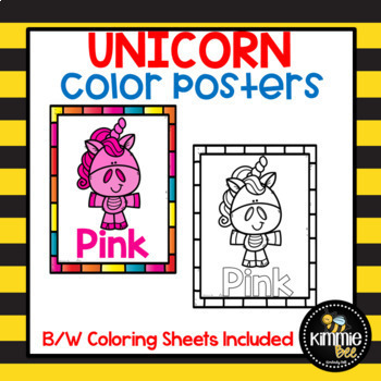 Unicorn Color Posters Printable Coloring Sheets By Kimmie Bee Tpt