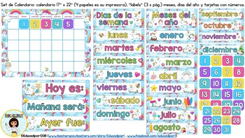 Unicornios - Set de calendario I