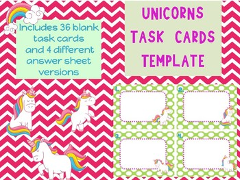 Unicorns Blank Task Card Template Unicorn theme fun whimsical