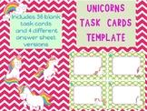 Unicorns Blank Task Card Template Unicorn theme fun whimsical