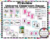 Unicorns Classroom Decor (SPANISH)