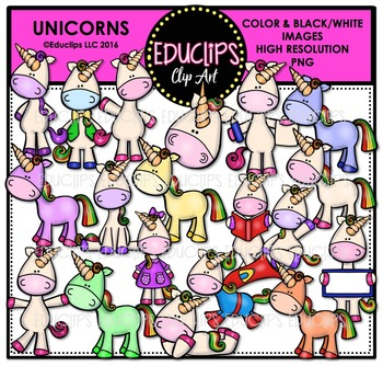 Unicorns Clip Art Bundle  {Educlips Clipart}